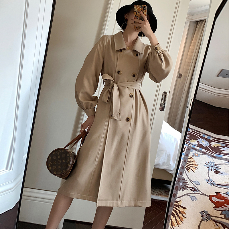 England Style Long Women   Trench   Coat Autumn Vintage Lantern Sleeve Belt Female Outwear Winter Casual Double breasted Ladies Coat