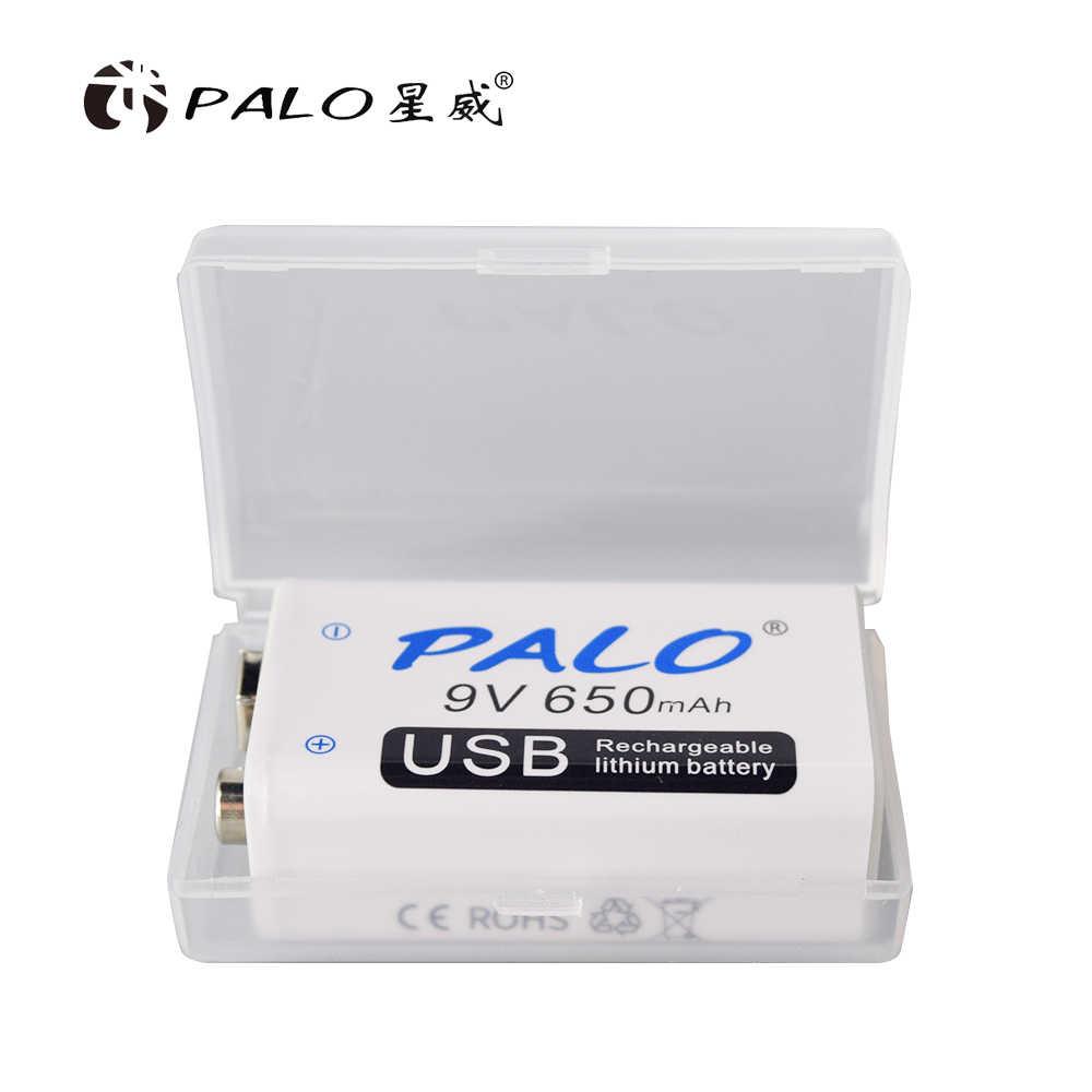 PALO 650mAh микро USB 9 Вольт литий-ионная аккумуляторная батарея 6F22 9В литий-ионная литиевая батарея для радиоуправляемого вертолета модель микрофона игрушка