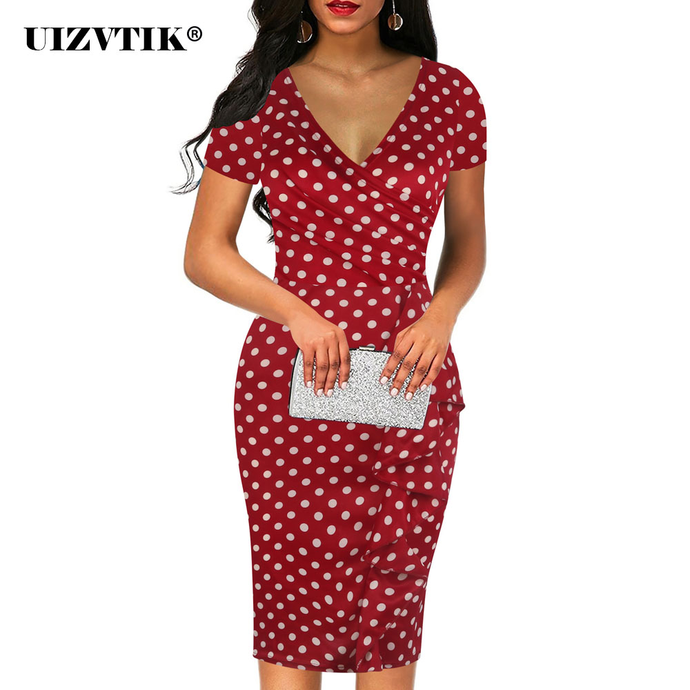 Spring Summer Dress Women 2020 Elegant Sexy V Neck Ruffles Long Party Dress Casual Oversize Slim Office Pencil Bodycon Dresses