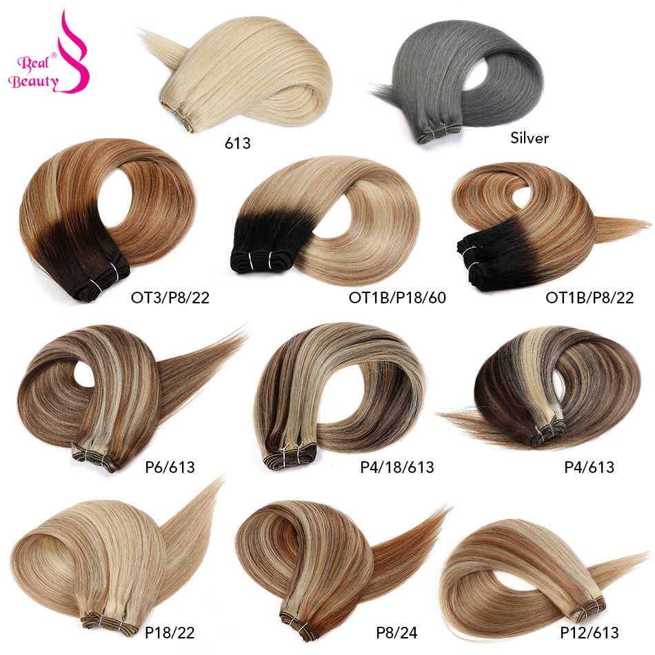 Real Beauty Ombre Straight Human Hair Weaves Bundle 18