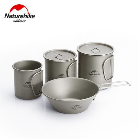 naturehike leve titanio talheres dobravel spork colher copo de agua caneca utensilios de cozinha ao