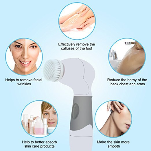 Facial Cleansing Brush Waterproof Electric 4 in 1 Spin Brush Set For Face And Body Deep Pore Cleaner Perfect Makeup Cleanser 3