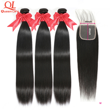 Queenlife Straight Bundles With Closure 4x4 Lace Closure 100