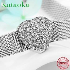 Подлинное серебро 925 пробы элегантные и изысканные CZ Клипсы из бисера подходят к оригинальному серебру 925 отражающие браслеты женские ювели...