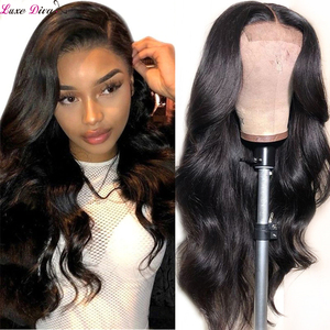 Luxediva 4X4 Closure Wig Brazilian Body Wave Lace Wig Human Hair Wigs Pre-plucked with Baby Hair Wig for Black Women Remy Hair(China)
