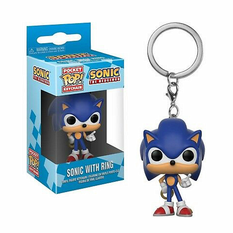 FUNKO POP Pocket Pop Keychain Sonic With Ring Anime Game Action Figures Collection Model Toys For Children Boy Christmas Gifts