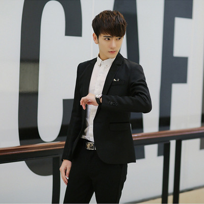 Spring And Autumn Men's Small Suit Korean-style Solid Color Casual Slim Fit Youth Men Single Row Of A Buckle Suit Coat Men's
