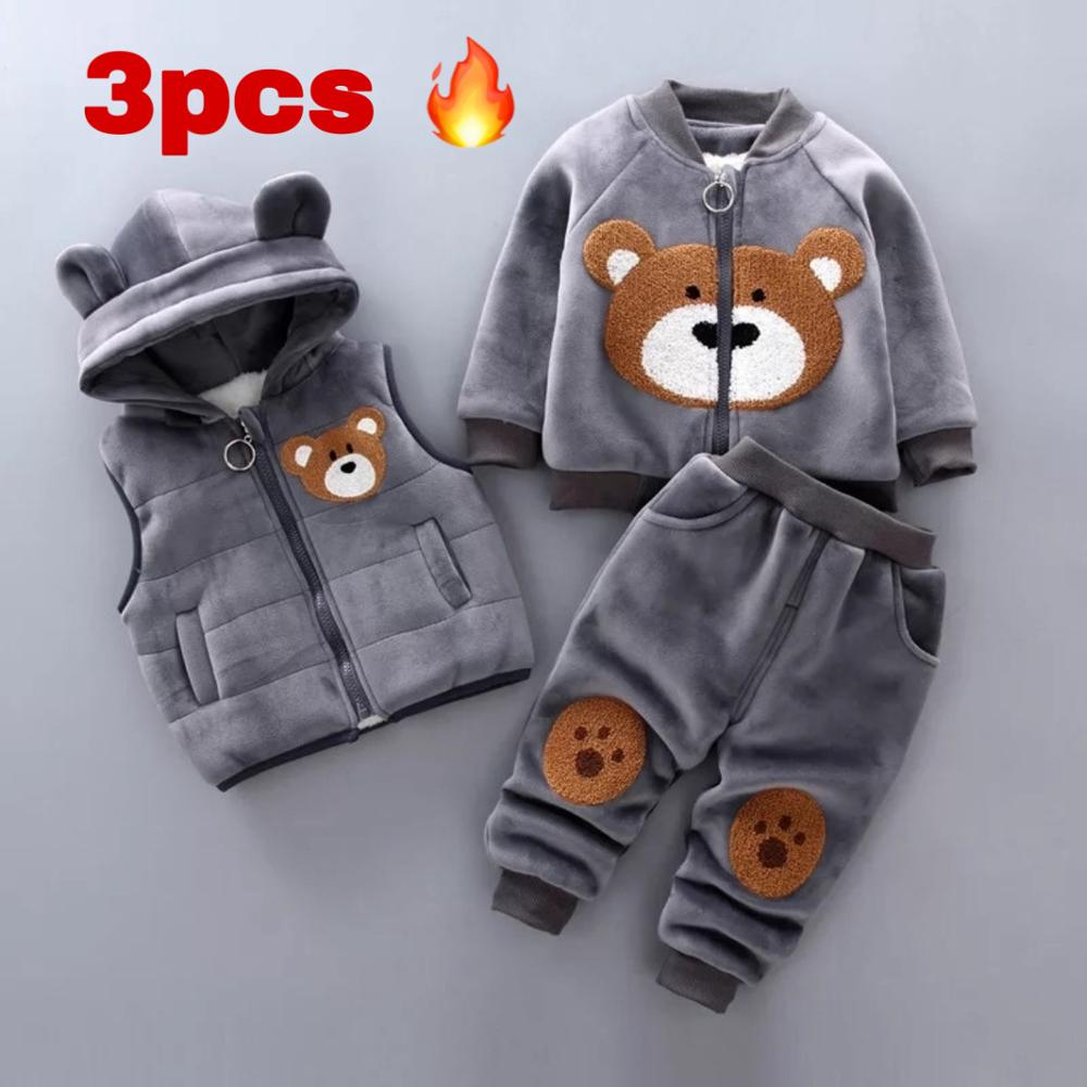 Baby Girl Clothing Boy Clothes Gold Velvet Warm Clothes Bear Cartoon Printing Plus Velvet Thick Sweater Hooded Vest Jacket 3pcs