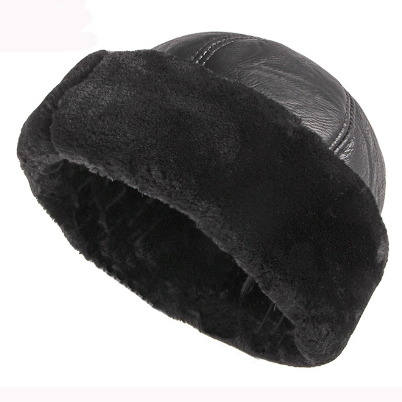 HT2824 Thick Warm Winter Hat Men Black Fur Leather Russian Bomber Hat Male Windproof Snow Ski Russian Cap Fleece Lined Dad Hat