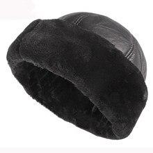 HT2824 Thick Warm Winter Hat Men Black Fur Leather Russian Bomber Hat Male Windproof Snow Ski Russian Cap Fleece Lined Dad Hat