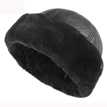 HT2824 Thick Warm Winter Hat Men Black Fur Leather Russian Bomber