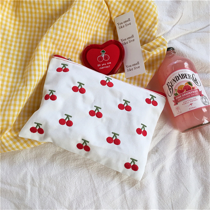 Sandro Kawaii Cherry Embroidery Small Cherry Hand Portable Storage Cosmetic Bag Cute Pen Bag Change Canvas Bag