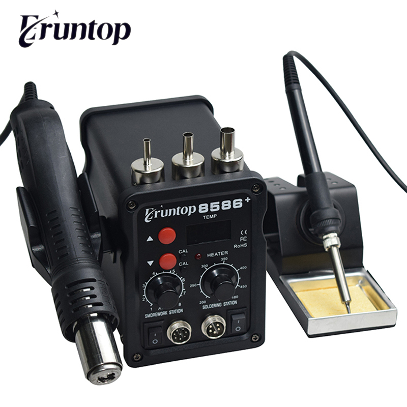 2 In 1 Eruntop 8586  ESD Hot Air Gun Soldering Station  Welding Solder Iron For IC SMD Desoldering Rework Upgraded 8586