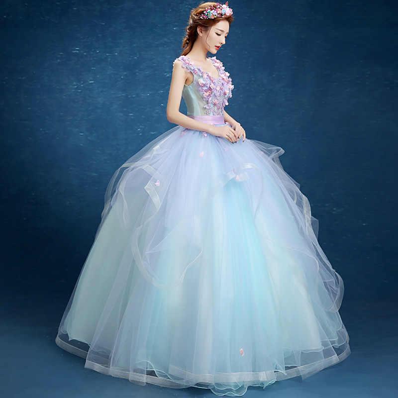 ボールガウンライトブルー花 Quinceanera のドレススウィート 16 ドレス Vestido デ 15 各公報デ · デビュタント 2019 ふくらんドレスウエディング