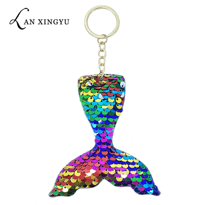 New multi color flip face sequins mermaid tail fish shape key ring pendant girls car chain small gifts