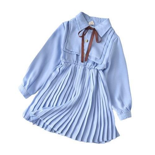 Vestido de manga larga con lazo para niña, vestidos de princesa para fiesta de cumpleaños, ropa infantil, uniforme escolar, ropa para niña de 3 a 7 años