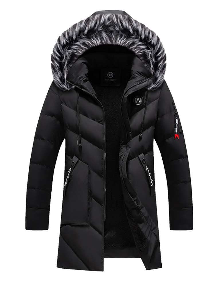 Padded Coat Jacket Fur-Collar Winter Parka Men's Fashion Thick Long Windproof Solid Hooded