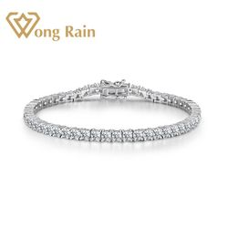 Wong Regen 925 Sterling Zilver Gemaakt Moissanite Gemstone Bangle Charm Bruiloft Armband Fijne Sieraden Groothandel Drop Shipping