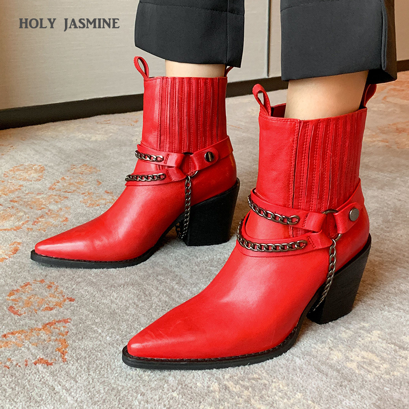 2020 New Branded Genuine Leather Metal Chain Ankle Boots Sexy Pointed Toe Thick Heel Western Cowboy Ankle Boots Shoes Women