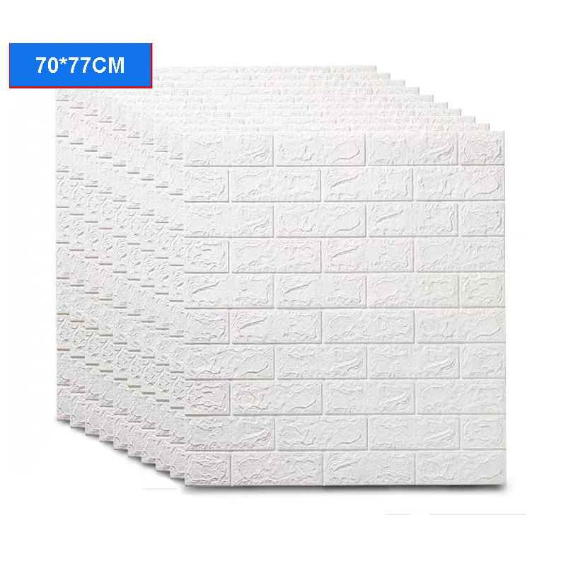 12/6/3pcs 3D Brick Wall Sticker DIY Self-Adhesive Decor Foam Waterproof Covering Wallpaper For Kids Room Kitchen Stickers image