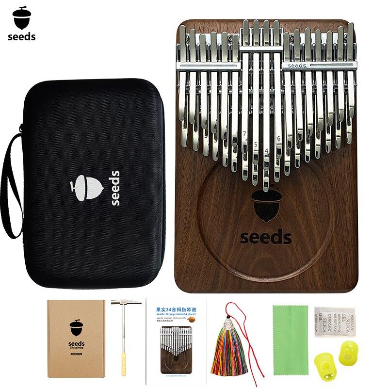 Семена хроматического калимба 34 клавиши двойной слой большой палец пианино черный орех клавиатуры Mbira Pisces Музыкальные инструменты