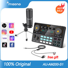MAONO CASTER AM200-S1 Alle-in-auf Mikrofon Mixer Kit Soundkarte Audio Podcaster Mit Kondensator Mic & Kopfhörer für Telefon YouTube