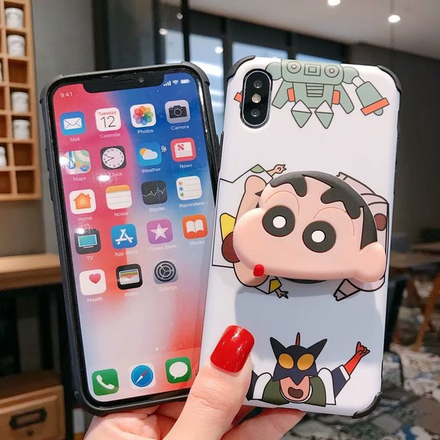 Cartoon 3D Crayon Shinchan Stand Silicone Phone Case For iPhone X XR 11 Pro XS MAX 7 6 6s 8 Plus Bracket Holder Back Cover