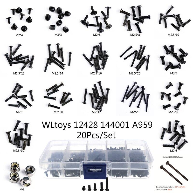 Wltoys 12428 RC Car Spare Parts 20Pcx/Set Screws Pan Head Screws Flat Head Screws Half Tooth Screw M2 M2.3 M2.5 M3 M4 For RC Car