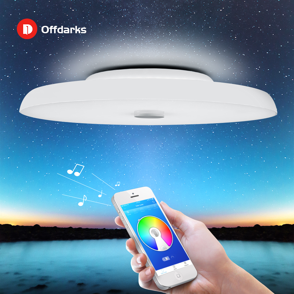Moderno LED luces de techo regulable 36W 48W 72W APP control remoto Bluetooth música luz altavoz vestíbulo dormitorio lámpara de techo inteligente