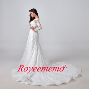 Image 5 - 2020 Elegant Lace Appliques long Sleeve Mermaid Wedding Dress Illusion Back Vintage Bridal Gown vestido de noiva Custom Made
