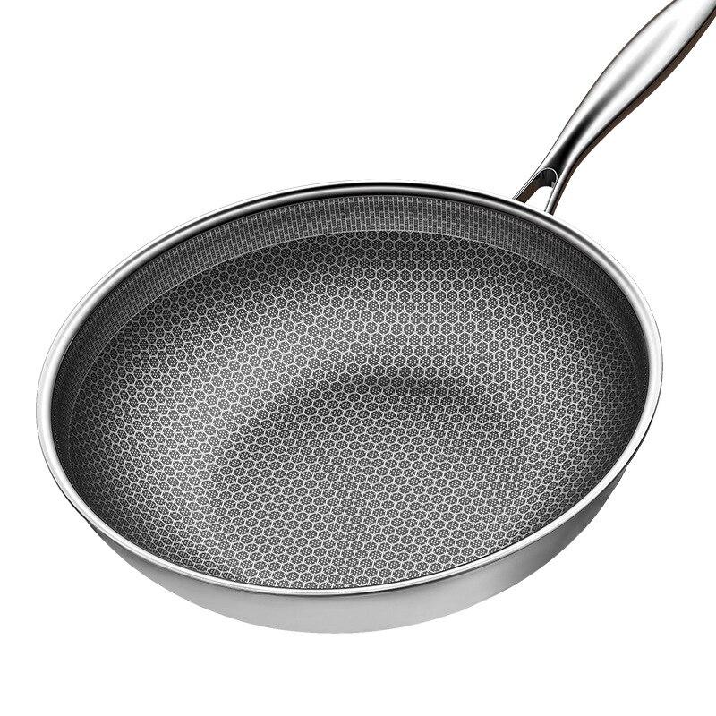 304 poêle en acier inoxydable poêle antiadhésive Omelette Steak poêle à crêpes cuisinière à Induction cuisinière à gaz universelle