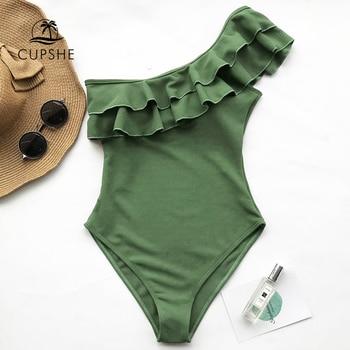 цена CUPSHE Solid Green One-shoulder Ruffled One-Piece Swimsuit Sexy Padded Women Monokini 2020 Girls Beach Bathing Suits Swimwear онлайн в 2017 году