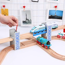 Wooden Double Deck Bridge Overpass Toy DIY Train Tracks Railway Scene Accessory enjoying hours of happy family time together