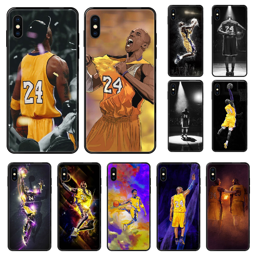 Баскетбольный черный чехол для телефона Mamba Kobe 24 для iphone 4 4s 5 5S SE 5C 6 6S 7 8 plus X XS XR 11 PRO MAX 2020 Black trend prime