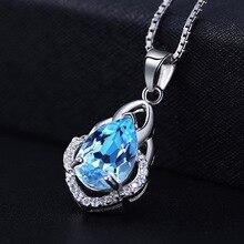Crystal Blue Pendant Topaz Necklace 3A Zircon Diamond Drop  Jewelry Sapphire Pendants Trendy Fashion