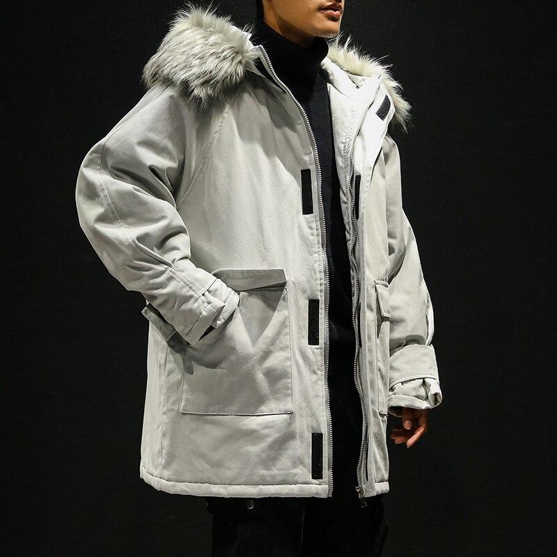 Nouveau 2019 hommes hiver à capuche vestes en vrac hiver manteaux mâle grande taille longue chaud Parkas Outwear décontracté hiver vestes 5XL