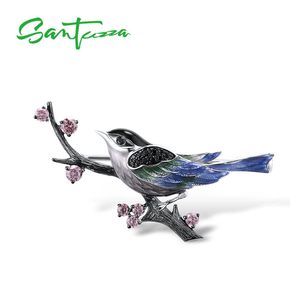 SANTUZZA Silver Brooch For Women Pure 925 Sterling Silver Lovely Magpie Birds Animal Trendy Fashion Jewelry Handmade Enamel