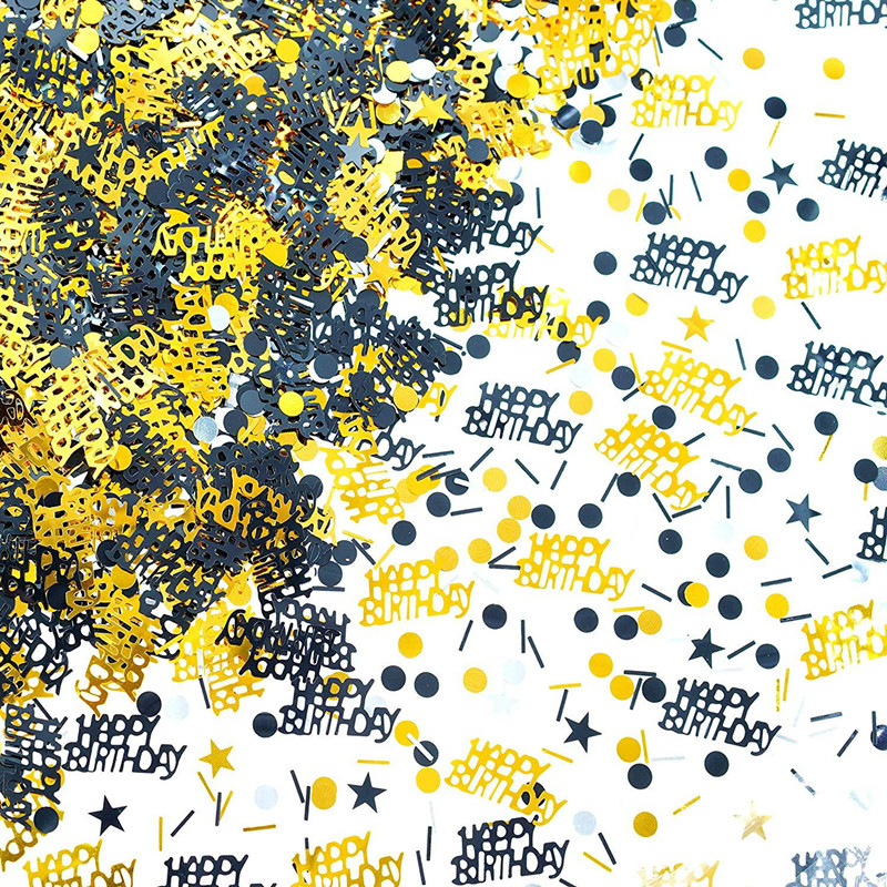 Gold Black 18 <font><b>30</b></font> 40 50 60 <font><b>Confetti</b></font> Happy Birthday Star Table <font><b>Confetti</b></font> Sprinkles Anniversary Baby Shower Decor Wedding Decoration image