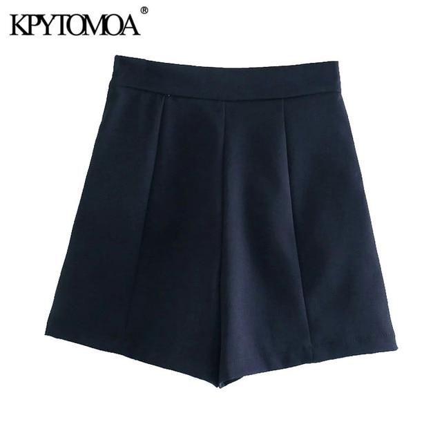 KPYTOMOA Women 2021 Chic Fashion With Metal Buttoned Bermuda Shorts Vintage High Waist Side Zipper Female Short Pants Mujer 2