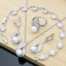 Conjuntos de joyas de plata 925 para novias, circonita blanca Natural con perlas, pendientes de boda para mujer, colgante, collar, anillo, pulsera