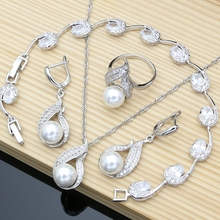 Silver 925 Bridal Jewelry Sets Natural White Zircon With Pearls Beads  Women Wedding Earrings/Pendant/Necklace/Ring/Bracelet