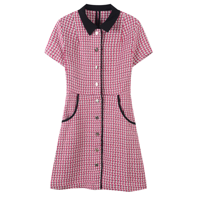Runway Elegant Bottons Pockets Party Dress Women A Line Short Dress Knitted Striped Female Summer Ladies Mini Dress Vestido Slim