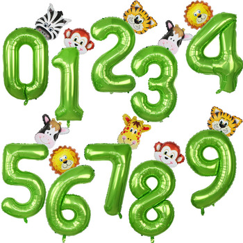 40inch Green Number Balloons with Jungle Animal Balloons Jungle Party Decorations Kids Boy Birthday Party Decoration Baby Shower foil number balloons birthday party decorations holiday diy decoration kids baby shower wedding decoration balls 40inch
