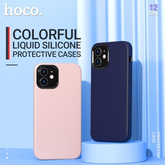 Hoco רך סיליקון מגן מקרה עבור iPhone 12 mini Pro 11 11Pro Max מקסימום כיסוי הגנת מעטפת סיליקון טלפון מגן צבעוני