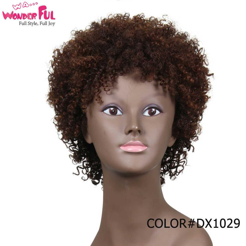 Prachtige Menselijk Haar Pruiken Braziliaanse Afro Kinky Krullend Haar Pruiken Kort Menselijk Haar Pruiken Voor Zwarte Vrouwen Groothandel Machine Gemaakt pruiken
