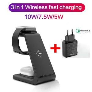 Image 1 - Беспроводное зарядное устройство 3 в 1 10 Вт для iPhone 11 Pro XR 8 Samsung S10, док станция беспроводного зарядного устройства для Airpods Pro Apple Watch 5 4 3 2