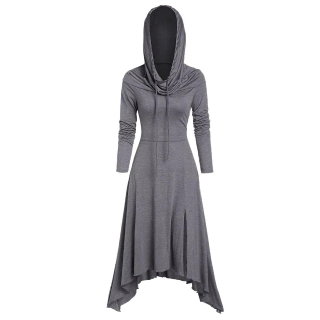 2020 Women Dress Vintage Fashion Long Sleeve Womens Dresses Solid Pullover Hooded Fitted Waist Sweatshirt Dress платье женское