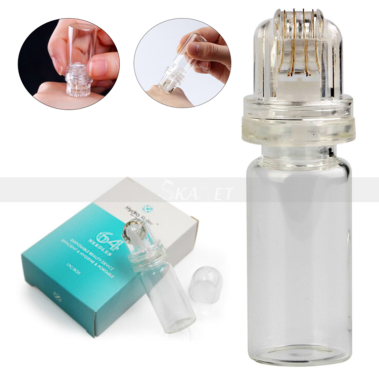 Portable Hydra 20/64 Pins Titanium Roller Micro Needle Derma Applicator Bottle Roller Serum Injection Reusable