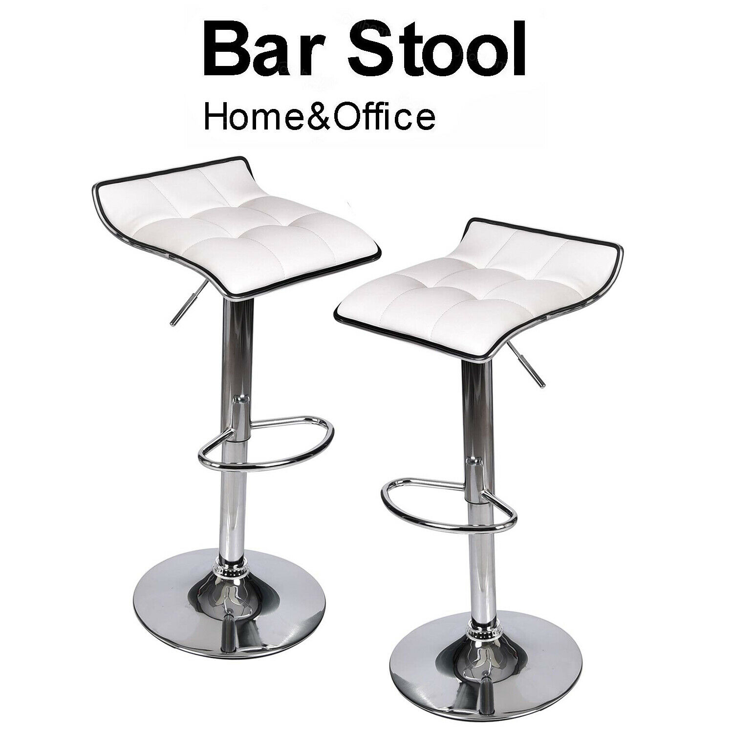 Set Of 2 White Bar Stools Pu Leather Hydraulic Swivel Pub Kitchen Dining Chair