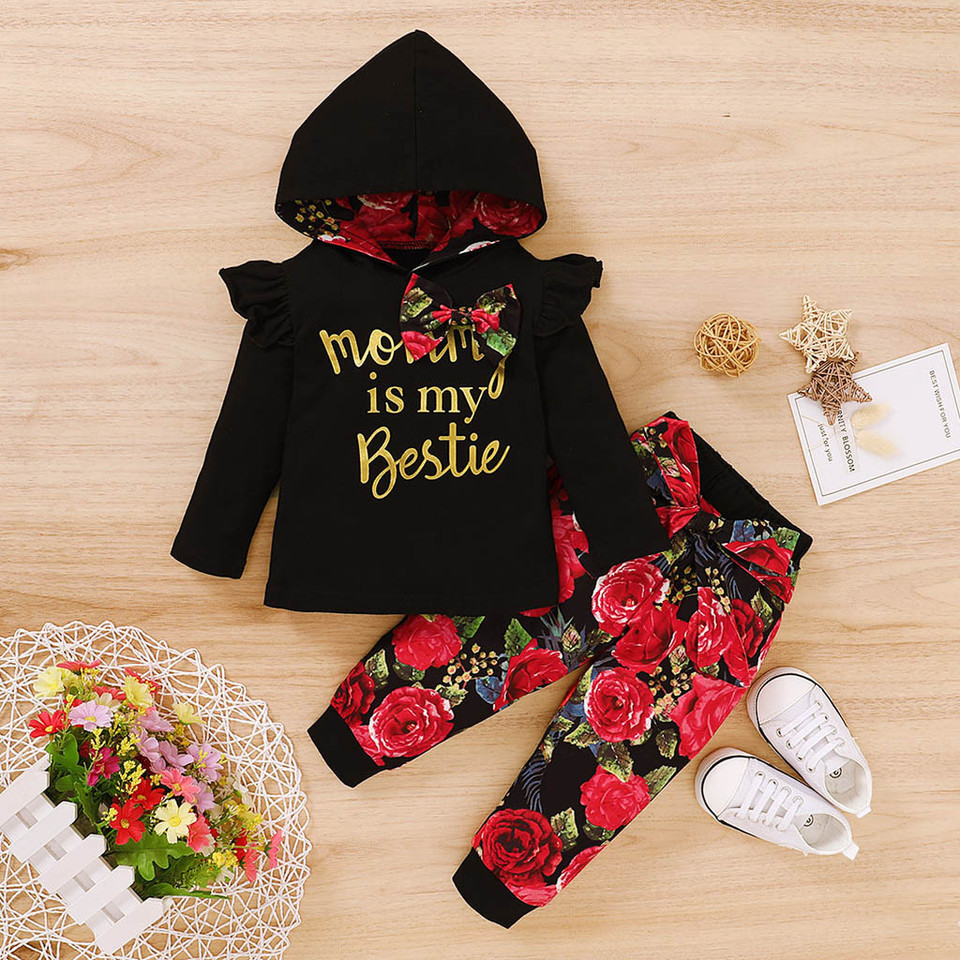 Toddler Baby Girls Long Sleeve Letter Print Hoodie Top+Floral Trouser Outfit Set